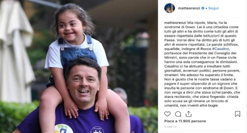 Matteo Renzi sempre più meschino – Strumentalizza una bimba down per lanciare una bufala contro Casalino – E non dimenticate che LUI ha tagliato del 10% i fondi per i disabili…!