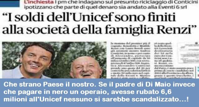 Che strano Paese il nostro. Se il padre di Di Maio invece che pagare in nero un operaio, avesse rubato 6,6 milioni all'Unicef nessuno si sarebbe scandalizzato…!