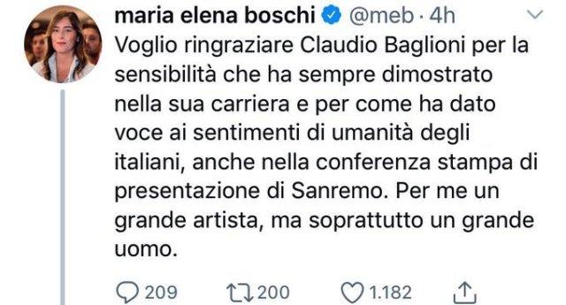 """La Boschi sale sul carro di Baglioni – Ma, Baglioni ha accusato anche """"tutti i governi precedenti"""", Maria Elena sveglia! Baglioni ha detto che anche il TUO governo è stato incapace… Dai, se ci rifletti ci arrivi anche tu…"""