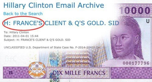 Franco CFA – Una mail di Hillary Clinton pubblicate da Wikileaks conferma che i francesi assassinarono Gheddafi perchè la sua politica monetaria metteva a rischio il loro metodo coloniale –  E vi meravigliate che Julian Assange possa essere ammazzato da un momento all'altro?