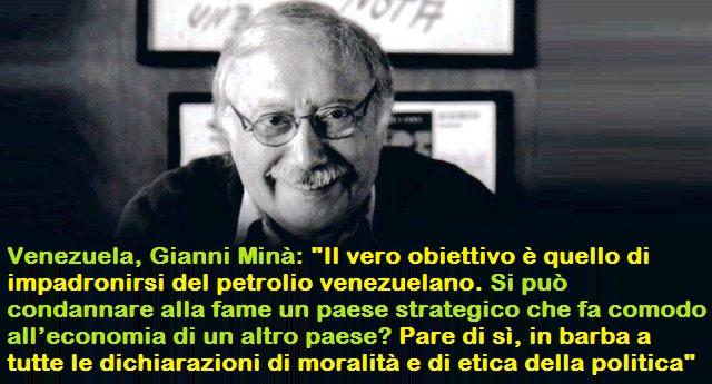 """Venezuela, intervista a Gianni Minà: """"Il vero obiettivo è quello di impadronirsi del petrolio venezuelano. Si può condannare alla fame un paese strategico che fa comodo all'economia di un altro paese? Pare di sì, in barba a tutte le dichiarazioni di moralità e di etica della politica"""""""