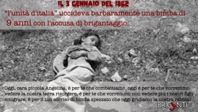 17 marzo Unità d'Italia? …Ricordiamo Angela Romano, la bambina di 9 anni fucilata dai Bersaglieri in nome di questa benedetta Unità d'Italia