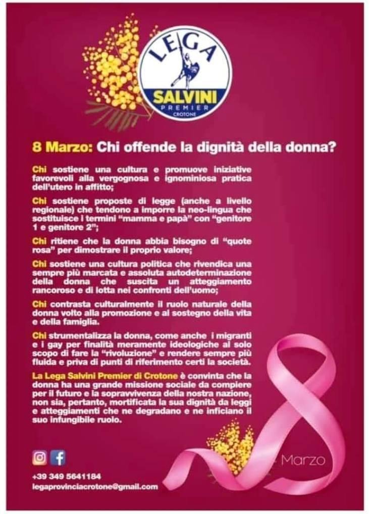 """Il manifesto leghista per l'8 marzo: """"Rivendicare l'autodeterminazione della donna è sbagliato"""" …Ma l'avete letto bene, femmine? Ma avete capito con chi avere a che fare? O forse la vostra aspirazione è quella di stare a casa, possibilmente in silenzio, a stirare le camicie di Capitan Salvini?"""