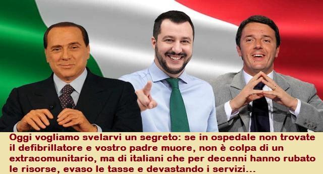 Oggi vogliamo svelarvi un segreto: se in ospedale non trovate il defibrillatore e vostro padre muore, non è colpa di un extracomunitario, ma di italiani che per decenni hanno rubato le risorse, evaso le tasse e devastando i servizi…