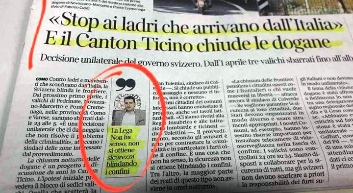 """Il Canton Ticino chiude le dogane: """"Stop ai ladri che vengono dall'Italia"""". La fantastica risposta della Lega: """"Non ha senso: non si ottiene sicurezza blindando i confini"""" …Tu chiamala, se vuoi, Coerenza…!"""