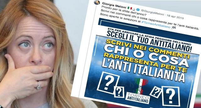 """Per la serie """"figure di m..da storiche"""": la Meloni lancia """"La sfida dell'anno"""" un sondaggio per stabilire """"chi rappresenta l'anti-italiano"""" – Il risultato? Per la Gente chi rappresenta gli anti-taliani sono la stessa Meloni e Mussolini…!"""