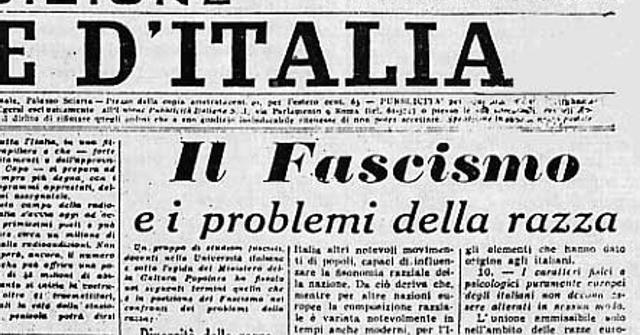 """14 luglio 1938 – Il Giornale d'Italia pubblica """"Il fascismo e i problemi della razza"""", il """"Manifesto della razza"""" che anticipa la promulgazione delle leggi razziale fasciste… Una vergogna che faremmo bene a non dimenticare!"""