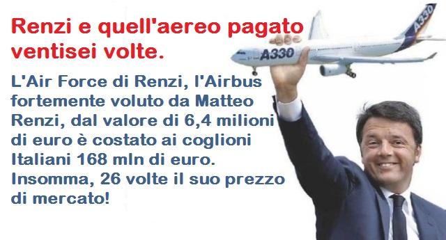 Renzi e quell'aereo pagato ventisei volte