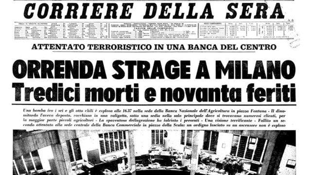 12 dicembre 1969 – Piazza Fontana, la strage fascista e di Stato che non dobbiamo dimenticare