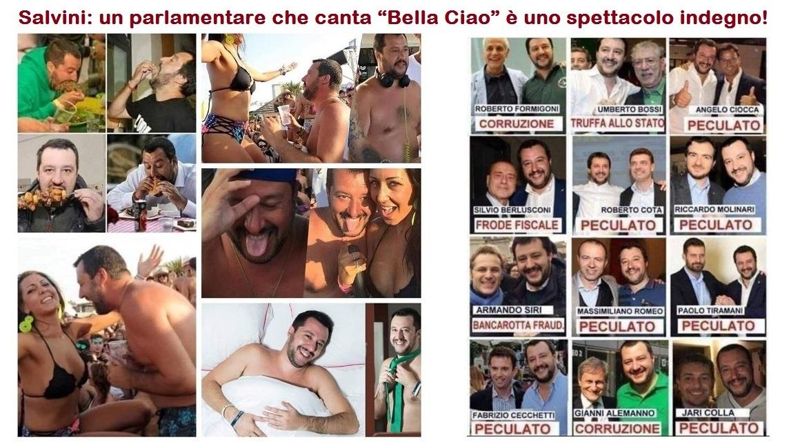 """Salvini: un parlamentare che canta """"Bella Ciao"""" è uno spettacolo indegno…!"""