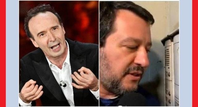 """Roberto Benigni dal palco di Sanremo provoca Matteo Salvini: """"Quest'anno a Sanremo si può votare anche al citofono"""""""