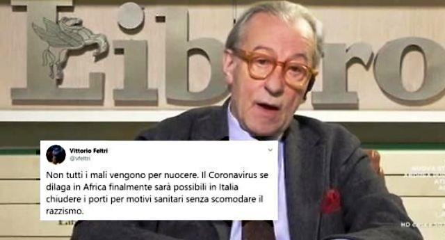 """Vittorio Feltri sempre più ignobile e ripugnante, gongola per il primo caso di contagio in Africa: """"Se il Coronavirus dilaga in Africa finalmente potremo chiudere i porti"""""""
