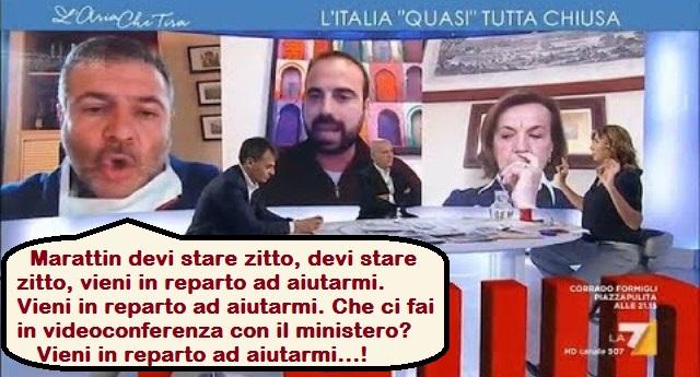 """Il primario stronca in diretta Luigi Marattin (Italia Viva): """"I politici devono stare zitti. Zitti. Devono dire solo alla gente di stare a casa, poi devono stare zitti. Qua la gente muore e loro parlano. Io non dormo da 10 giorni, venissero due minuti qui in reparto a vedere quello che sta succedendo."""
