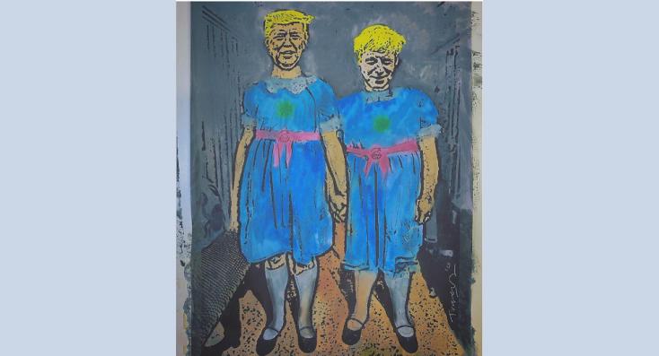L'ultimo disegno di TvBoy con Trump e Johnson come le gemelle di Shining: «Vieni a giocare con noi col coronavirus»