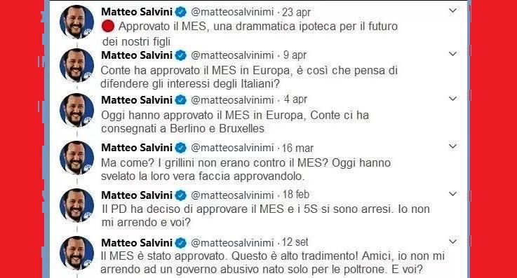 Le bufale di Matteo Salvini: accusa, per l'ennesima volta, Conte di aver approvato il Mes – Non è vero! Ma in pratica ammette di essere un cazzaro che tutte le altre volte ha preso per i fondelli i suoi elettori (non gli Italiani, perchè questi sono dotati di intelletto)…