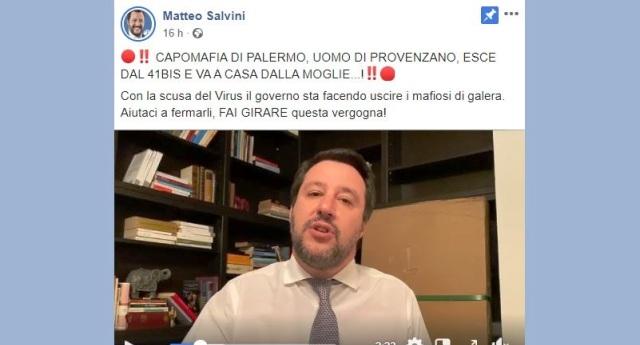 """Salvini: """"Il governo che fa uscire di galera i boss mafiosi con la scusa del virus"""" …Ora Voi non ci crederete, una fonte così autorevole… eppure è una BUFALA!"""