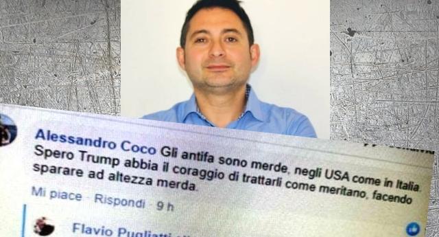 """L'assessore leghista Alessandro Coco: """"Gli antifascisti sono delle m…., bisogna sparare ad altezza d'uomo contro chi protesta per l'uccisione di George Floyd"""". Senza commenti!"""