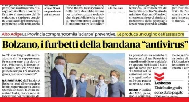 Lo strano caso della bandana anti-Covid, distribuita in 300mila pezzi in Alto Adige per un costo di 700mila euro: non protegge dal virus, ma è prodotta dal cugino dell'assessore alla sanità della provincia di Bolzano!