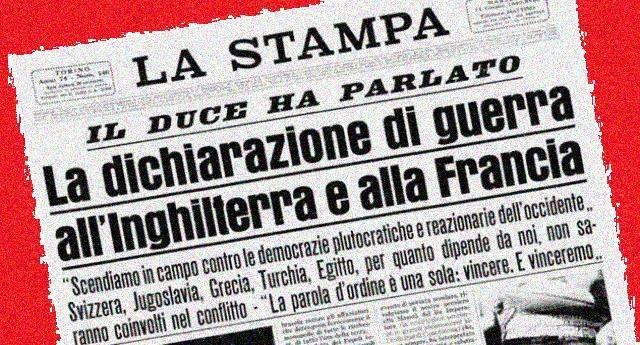"""Dedicato a tutti quelli che dicono """"ha fatto anche cose buone"""": 10 giugno, anniversario della guerra folle di Mussolini a Francia e Inghilterra – Risultato 472.000 morti!"""