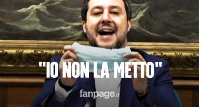 """Salvini rifiuta di mettere la mascherina in Senato, """"Non la metto""""… Come lui Trump (150.000 morti) e Bolsonaro (85.000 morti """"ufficiali"""")… qualcuno immagina quanti ne avrebbe ammazzato se fosse stato al governo al posto di Conte durante la Pandemia?"""