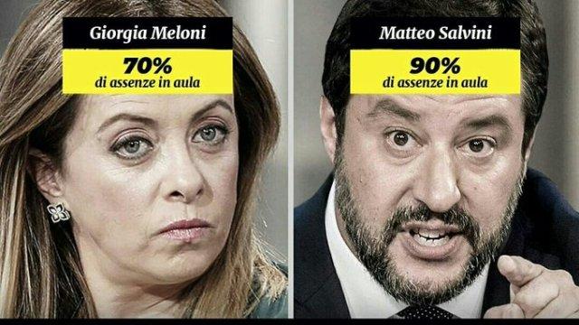 """Problema – Meloni e Salvini, in piazza per """"l'Italia che lavora"""". Dato che loro hanno rispettivamente il 70% ed il 90% di assenze in Parlamento, calcoli il candidato quanto possono essere idioti quelli che li prendono sul serio…"""