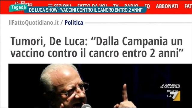 """Vaccino per il cancro in tre anni, i Berlusconiani di Caldoro si scandalizzano: """"Roba da farabutti, De Luca fa cabaret""""… Farabutti? Cabaret? Sarà così, ma solo quando lo fanno gli altri – Berlusconi aveva annunciato che avrebbe sconfitto il cancro già 10 anni fa!"""